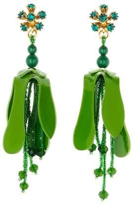 Oscar de la Renta Orchid Flower P Drop Earrings