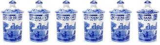 Spode Blue Italian Spice Jars, Set of 6