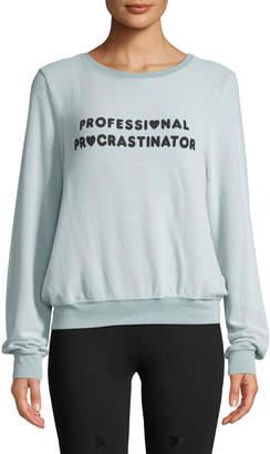 Wildfox Couture Procrastinator Baby-Terry Slogan Sweatshirt