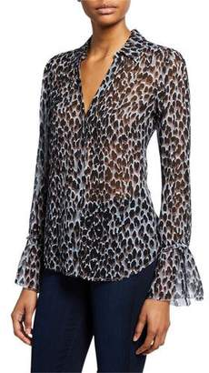 Paige Abriana Leopard-Print Bell-Sleeve Blouse