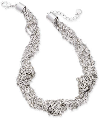 "Charter Club Silver-Tone Multi-Chain Knotted Statement Necklace, 17"" + 2"" extender"