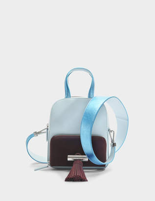 Kenzo Sailor Top Handle Backpack in Sky Blue Suede