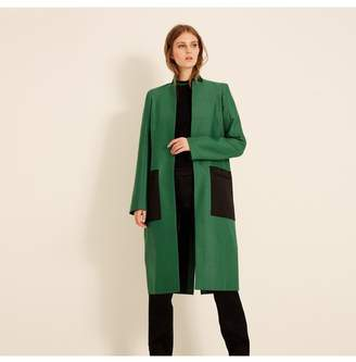 Amanda Wakeley Emerald Herringbone Coat With Satin Patch Pockets