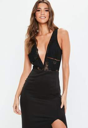 Missguided Black Trim Insert Plunge Neck Bodysuit