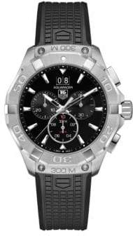 Tag Heuer Chronograph Aquaracer Steel Rubber Strap Watch