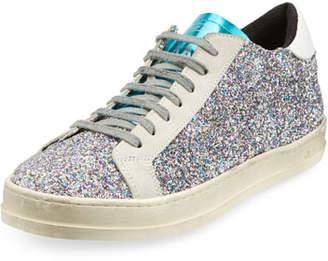 P448 John Low-Top Sneakers in Multi-Glitter Fabric & Leather