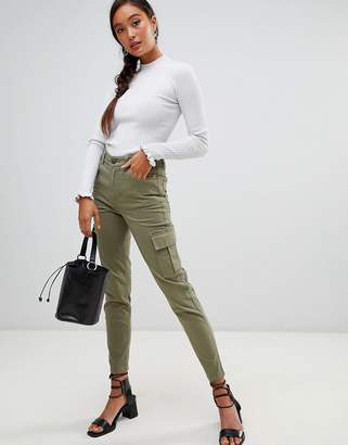 Miss Selfridge cargo pants with utility pockets in khaki