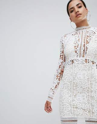Missguided Crochet Lace Long Sleeve Mini Dress