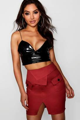 boohoo Woven Safari Pocket Mini Skirt