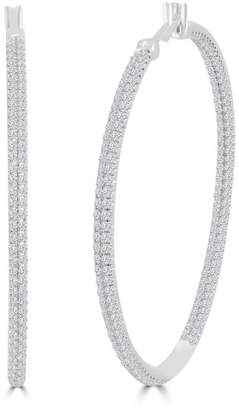 2.76ct Pave Diamond 18k White Gold Inside Out Hoop Earrings