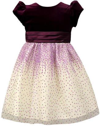 Jayne Copeland Toddler Girls Velvet Glitter Mesh Dress