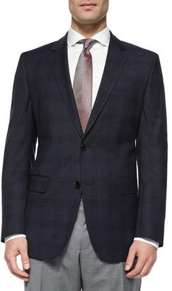 HUGO BOSS Plaid with Windowpane Two-Button Jacket, Navy