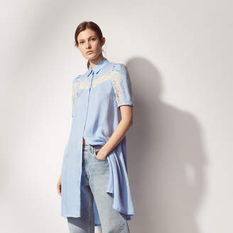 Sandro Shirt dress with lace trims