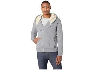Scotch & Soda Hooded Sweatshirt in Biker Styling w/ Bonded Teddy Lining