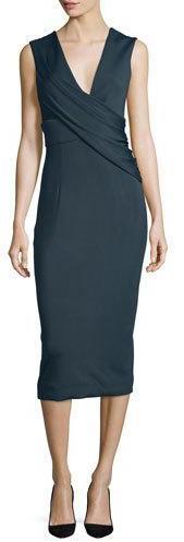 Cushnie Et OchsCushnie Et Ochs Ibiza Jasmine Sleeveless Draped Dress, Lake