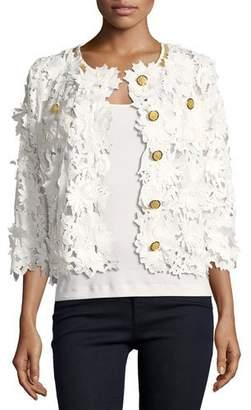 Michael Simon Floral Crochet Jacket, Plus Size