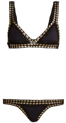 Kiini Chacha Crochet Trimmed Triangle Bikini - Womens - Black Multi
