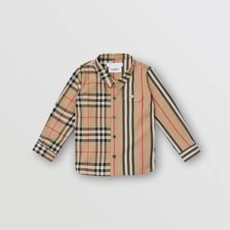 Burberry (バーバリー) - Burberry パネル ヴィンテージチェック&アイコンストライプ コットンシャツ