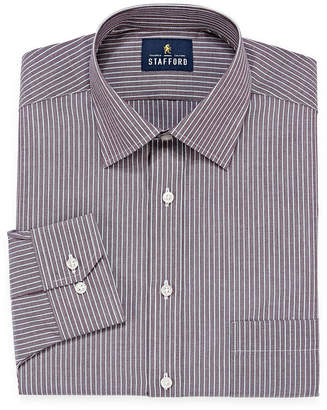 STAFFORD Stafford Travel Easy-Care Long Sleeve Broadcloth Stripe Dress Shirt