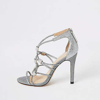 River Island Silver diamante cage heeled sandals