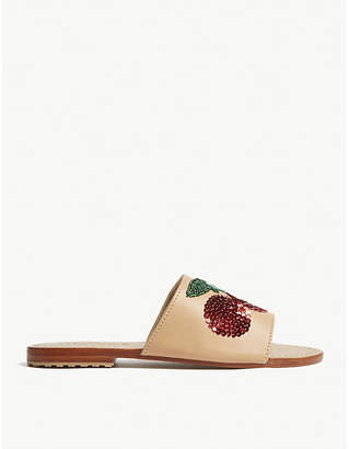 Mystique Sequin cherry leather sandals