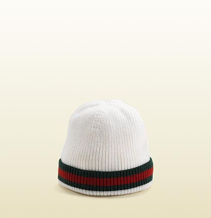 Gucci Knit Hat With Signature Web Detail.