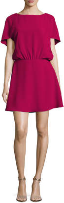 Halston Bateau-Neck Cape-Sleeve Flowy Dress