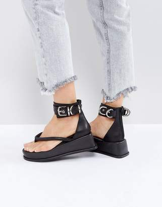 Jeffrey Campbell Black Ankle Strap Flat Sandals