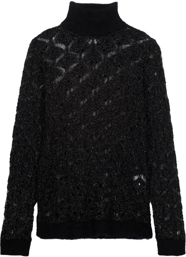 BalmainBalmain Metallic open-knit mohair-blend turtleneck sweater