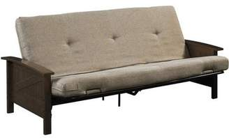 """Better Homes & Gardens Better Homes and Gardens Paneled Wood Arm Futon with 6"""" Mattress, Brown"""