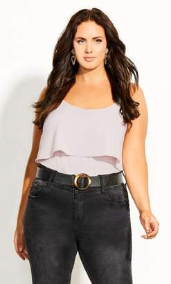 City Chic Sweet Tier Cami - stone