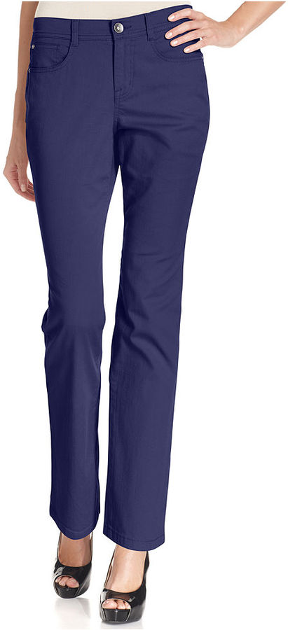 Style&Co. Jeans, Tummy-Control Straight-Leg, Colored Wash
