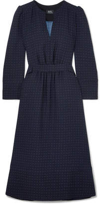 A.P.C. Printed Crepe Midi Dress - Navy