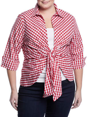 Neiman Marcus Plus Gingham Tie-Front Blouse, Plus Size