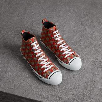 Burberry Tiled Archive Print Cotton High-top Sneakers , Size: 42