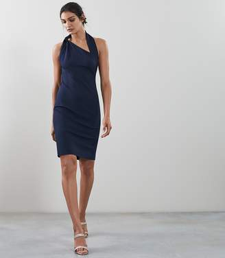 Reiss VARESSE TWIST NECK DRESS French Navy