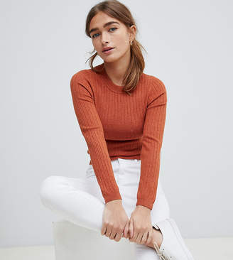 Asos DESIGN Petite ribbed sweater in fine knit
