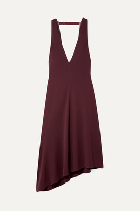 Tibi Open-back Asymmetric Crepe Midi Dress - Burgundy