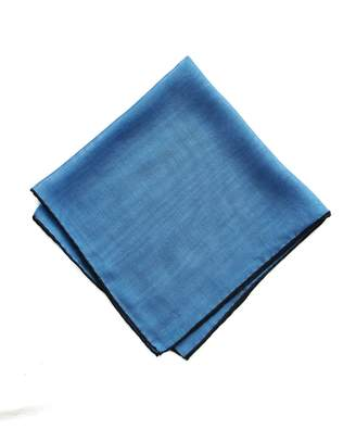 Drakes Drake's Blue Solid Wool and Silk Pocket Square with Shoestring Border