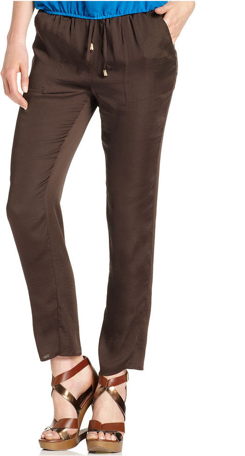Vince Camuto Pants, Skinny Drawstring-Waist Ankle