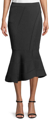 Jonathan Simkhai Linked Rib-Knit Fit-and-Flare Midi Skirt