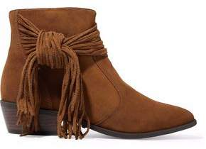 Schutz Knotted Fringe-Trimmed Suede Ankle Boots