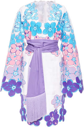 Yuliya Magdych Besame Mucho Embroidered Linen Cape Sleeve Dress