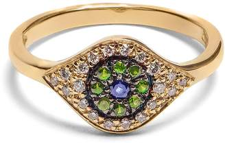 Ileana Makri Diamond, sapphire, tsavorite & yellow-gold ring