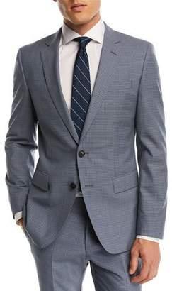 BOSS Huge Genius Small Windowpane Two-Piece Wool Suit, Blue