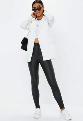 Missguided White Double Breasted Longline Blazer