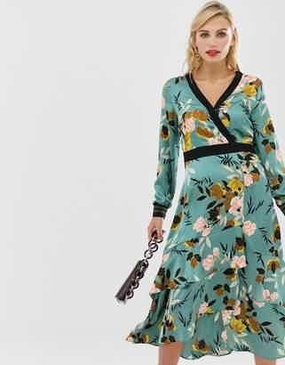Liquorish wrap front floral midi dress with tiered hem