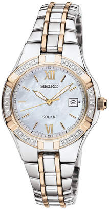 Seiko Womens Two-Tone Diamond-Accent Solar Watch SUT068