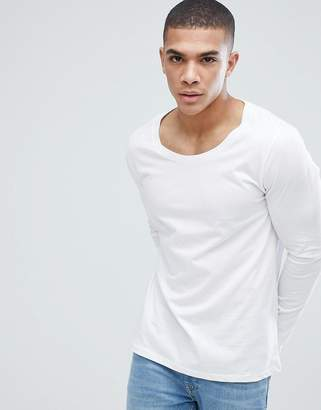 Asos Design DESIGN long sleeve t-shirt with scoop neck in white