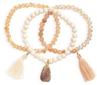 Women's Panacea Set Of 3 Beaded Stretch Bracelets $36 thestylecure.com